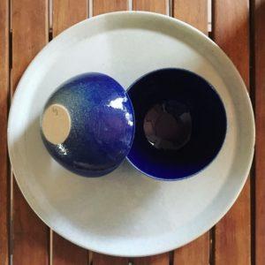 bol bleu, art de la table, bol à riz