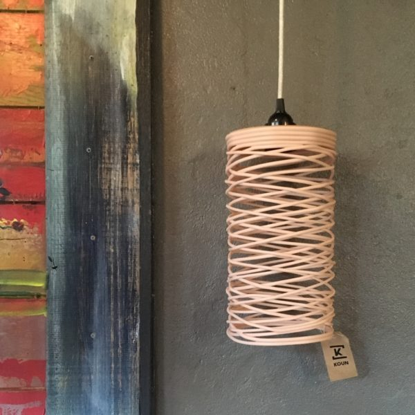 luminaire, suspension, rose, made in Maroc, recyclage
