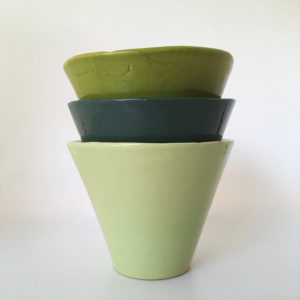 pot en céramique ateliers mf, pot gres medocain vert