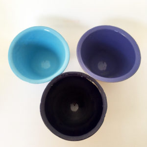 trio pot hugues bleu, pot en gres medocain