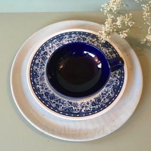 assiette en grès bleue, villeroy et boch, blue castle, made in aquitaine, assiette rustique