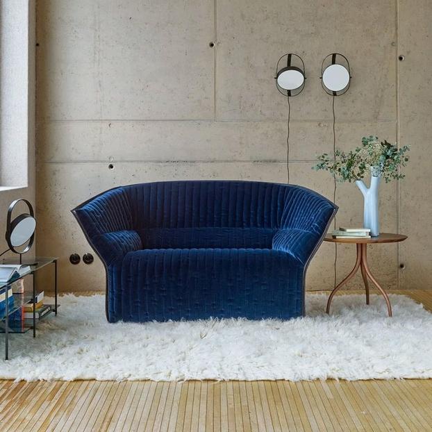 velours bleu, canapé, ameublement