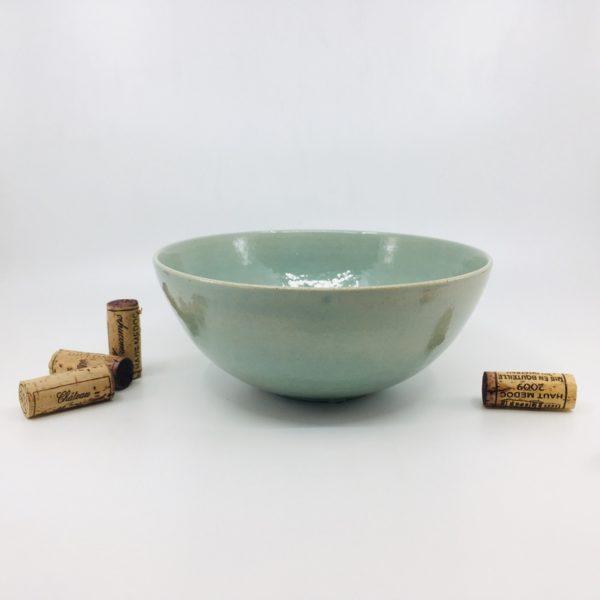 vaisselle en grès, vaisselle rustique, vaisselle style japonisant, collection Médoc, made in Aquitaine, saladier vert
