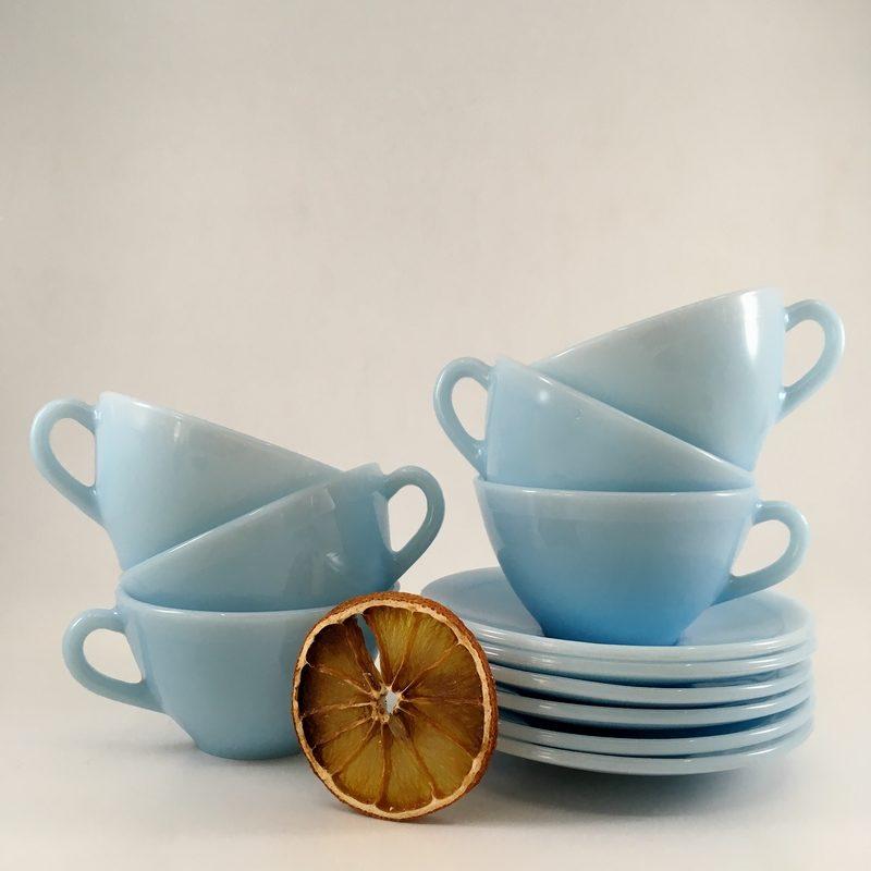 service à café, marque Duralex, vaisselle vintage, vaisselle ancienne, design XX ème s