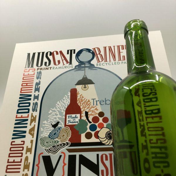 création digitale, affiche viticole, illustration originale, papier recyclé, créateur bordelais, patrimoine viticole, art de vivre à la française