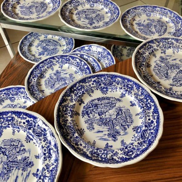 assiette vintage, décor bleu, luneville, décor champêtre