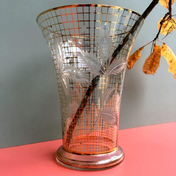 vase vintage, décoration végétale, années 50, dorure et décoration