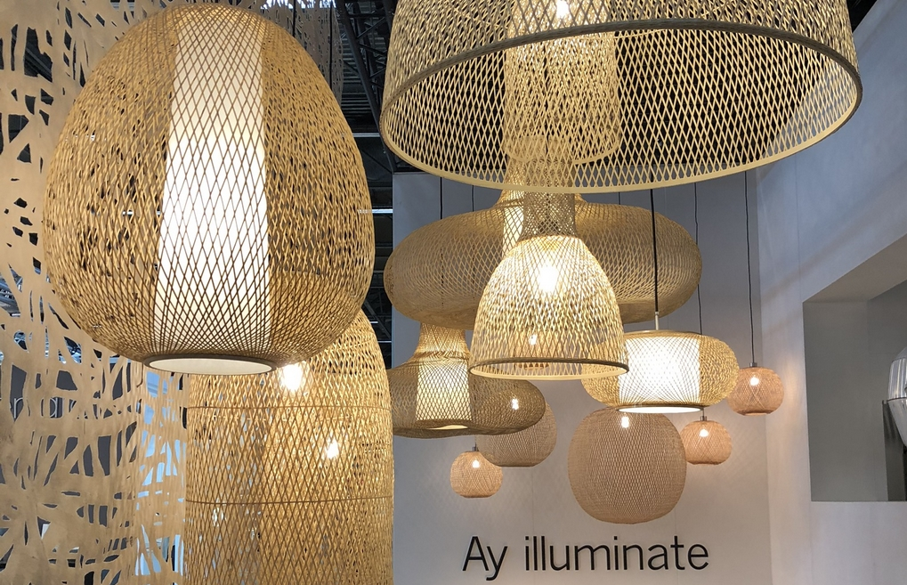 inspiration luminaire, ay illuminate, fibre naturelle, suspension, maisonetobjets