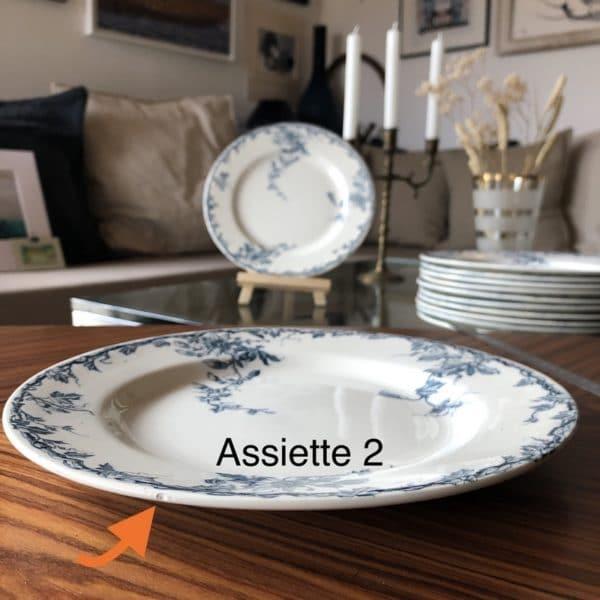 assiettes-plat-k&g-luneville-passiflore-bleu-vintage