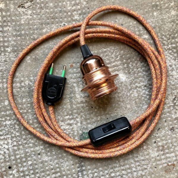 câble textile, cordon électrique, douille montée, câble luminaire, cordon électrique